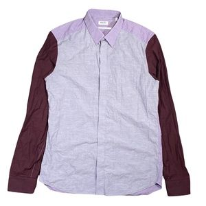 Kenzo Colorblock Slim Fit Maroon Gray L/S Button Front Shirt Mens 39 / 15.25 Med